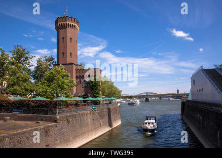 Germany, Cologne, the Malakoff tower at the Rheinau harbour, on the right the staircase of the Chocolate Museum.  Deutschland, Koeln, der Malakoffturm - Stock Image