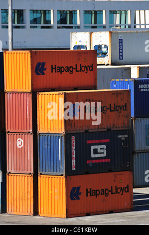 Containers on quayside, Lisbon, Portugal - Stock Image