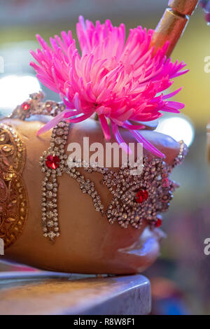 A close up of the back of the hand of the Hindus goddess Mariammaa at a temple in Queens, New York, - Stock Image