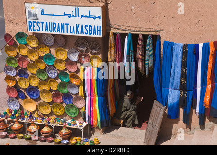 Restaurant and shop in Taourirt Kasbah Ouarzazate Morocco - Stock Image