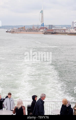 Looking back at the Spinnaker Tower, Portsmouth from the deck of a Wightlink ferry - Stock Image