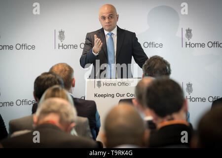 Home Secretary Sajid Javid during a speech on counter terrorism in London. - Stock Image