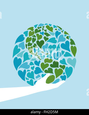 Hand holding planet earth made of hearts. Symbol of peace. America in the center. - Stock Image