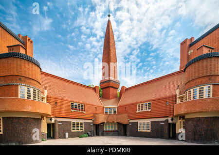 Museum of the Amsterdam School Architecture building Het Schip by Michel de Klerk (1919) in Brick Expressionism style. - Stock Image