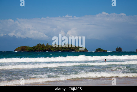 Holidaymaker in the surf at Playa Red Frog. - Stock Image