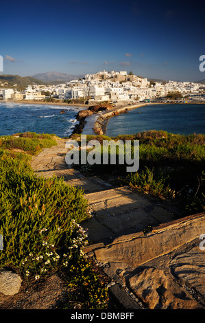 Hora old town from the Temple promontory Naxos, Greek Islands - Stock Image