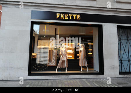 Frette on South Audley Street, Mayfair, London, England, UK - Stock Image