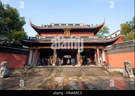 HANGZHOU, CHINA - JAN 23, 2016 - Entrance to Yuewang Temple, Hangzhou, China - Stock Image