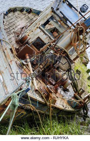 Ruin of an old wooden boat Abersoch Gwynedd Wales - Stock Image