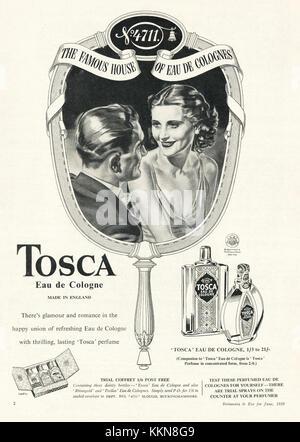 1939 UK Magazine Tosca Eau de Cologne Advert - Stock Image