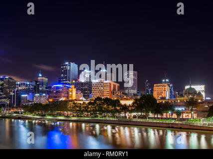 Night landscape in Melbourne. - Stock Image