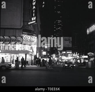 1960s, evening-time, Manhattan, New York, USA, view of Broadway and the theatreland, - Stock Image
