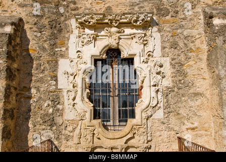 Rose Window Mission San Jose San Antonio Texas tx Missions National Park - Stock Image