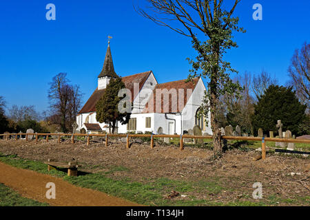 Blue sky over St Mary The Virgin Church and graveyard, Northolt Village, Middlesex - Stock Image