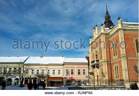 Shops and the Orthodox Bishop's Palace, in the city of Novi Sad, Vojvodina, Serbia. - Stock Image