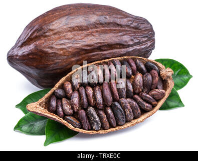 Cocoa pods and cocoa beans - chocolate basis isolated on a white background. - Stock Image