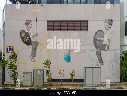 Mural Jousting Painters by Ernest Zacharevic in Joo Chiat Singapore. - Stock Image