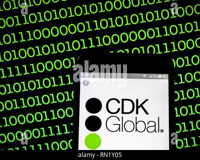 Ukraine. 16th Feb, 2019. CDK Global company logo seen displayed on a smart phone. Credit: Igor Golovniov/SOPA Images/ZUMA Wire/Alamy Live News - Stock Image