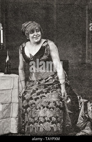 Anne Marie-Louise Damiens, stage name Anna Judic, 1849 -1911.  French comic actress.  From La Ilustracion Iberica, published 1884. - Stock Image