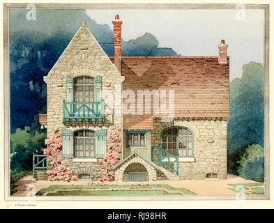 A charming stone-built villa at Veneux-Nadon (Seine-et- Marne, France) : architect Felix Ollivier - Stock Image