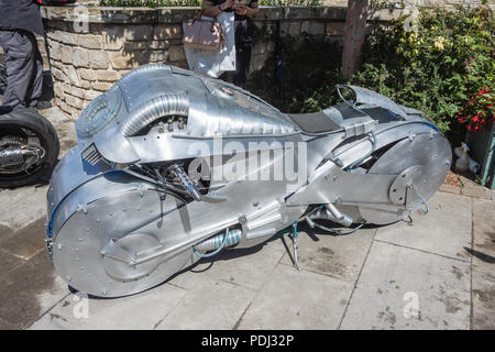 The Retro-Tron - a working prop model based on Tron light cycles  Built and displayed by podpadstudios - Stock Image
