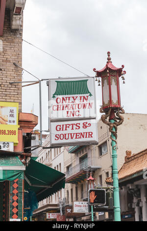 'Only in Chinatown Inc. – Gifts & Souvenir', sign, Chinatown, San Francisco, California, USA - Stock Image