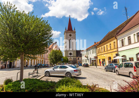 Blatna city. View of a old city square with church. Czech Republic. - Stock Image