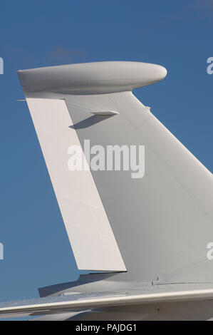 tail of the Dassault Falcon 7X parked in the static-display at the Paris AirShow 2007 Salon-du-Bourget - Stock Image