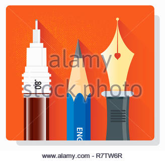Close up of drawing pen, pencil and fountain pen in a row - Stock Image