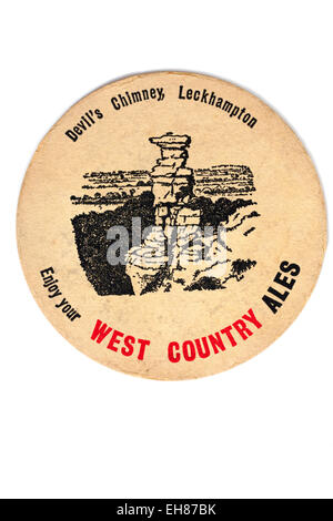 Vintage Beermat Advertising West Country Ales - Stock Image