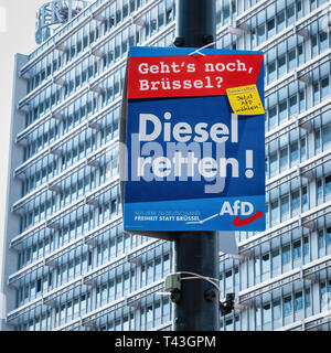Berlin. Election poster, European Elections 23-26 May 2019, AfD poster supports use of Diesel. Right wing party wants to save Diesel - Stock Image