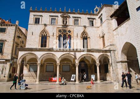 Sponza palace at Luza square Grad the old town Dubrovnik city Dalmatia Croatia Europe - Stock Image