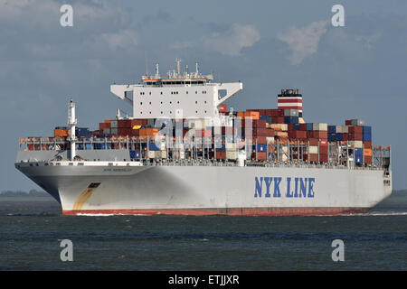 NYK Hercules passing Cuxhaven outbound - Stock Image