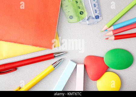 Close-up of various objects needed in school education process - Stock Image