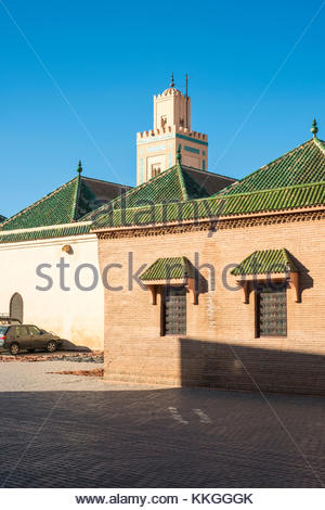 Morocco, Marrakech-Safi (Marrakesh-Tensift-El Haouz) region, Marrakesh. Mosquee Ben Youssef mosque in the medina - Stock Image
