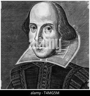 William Shakespeare (1564-1616), portrait engraving, Martin Droeshout, 1623 - Stock Image