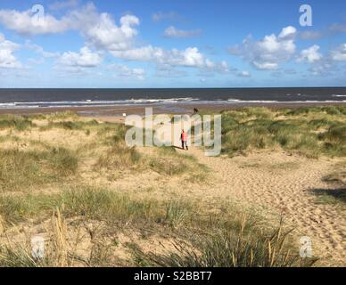 Path across sand dunes to a Norfolk beach. - Stock Image