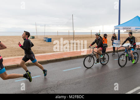 Benidorm, Costa Blanca, Spain, 7th February 2018. French sports retailer Decathlon host a triathlon on Poniente - Stock Image