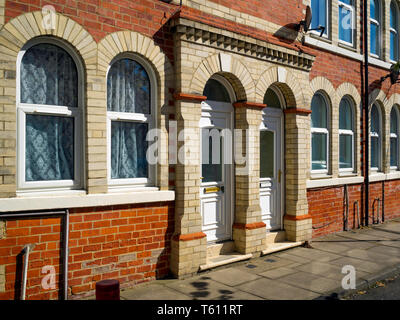 Handsome Victorian terraced houses in Boswell Street Middlesborough providing accommodation within the Tesside University Campus - Stock Image
