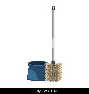 Cleaning toilet brush with pad isolated symbol - Stock Image