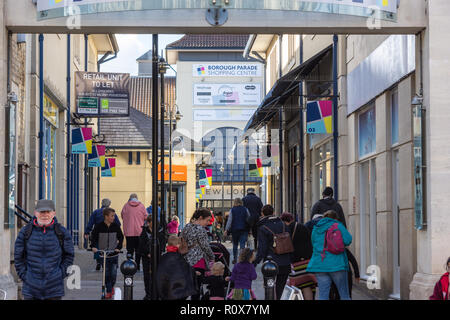 A view from the hight street up the Borough Parade shopping center towards New Look in Chippenham - Stock Image