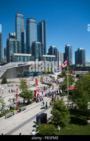 A view of Toronto, Canada high rise buildings as seen from Rogers Centre, Toronto, Ontario, Canada - Stock Image