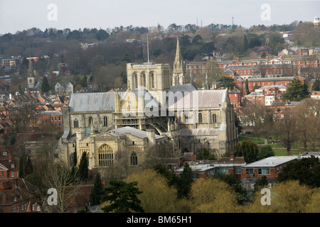 The East Prospect of Winchester and the Cathedral from St Giles Hill, Hampshire, UK - Stock Image