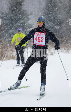 A competitor skis in the Mora Vasaloppet during a snowstorm. - Stock Image