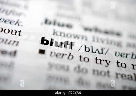Closeup page with text BLUFF in colored highligh - Stock Image