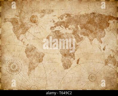 Medieval world map vintage stylization - Stock Image