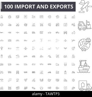 Import and exports line icons, signs, vector set, outline illustration concept  - Stock Image