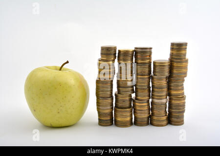 Yellow apple with coins isolated on white background - Stock Image