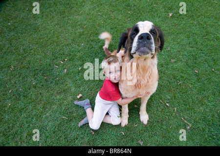 Boy and his dog - Stock Image
