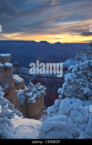 Winter view at sunrise, Mather Point area on South Rim of Grand Canyon National Park, Arizona, USA - Stock Image